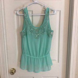 Mint colored dress blouse with sequined front